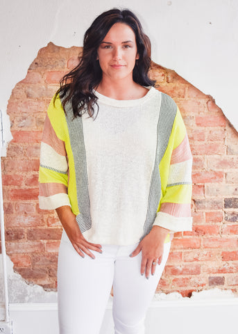 Neon Detail Gauze Top
