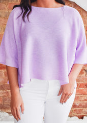 Wide Sleeve Sweater Top -Lavender