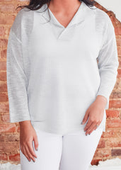 Fold Over Collar Sweater Top -Light Grey