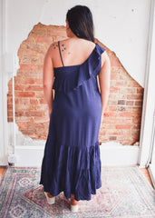 THML One Shoulder Ruffle Maxi Dress -Navy