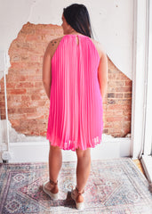 Neon Pleated Halter Dress -Pink