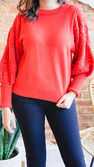 Sleeve Detail Sweater -Coral