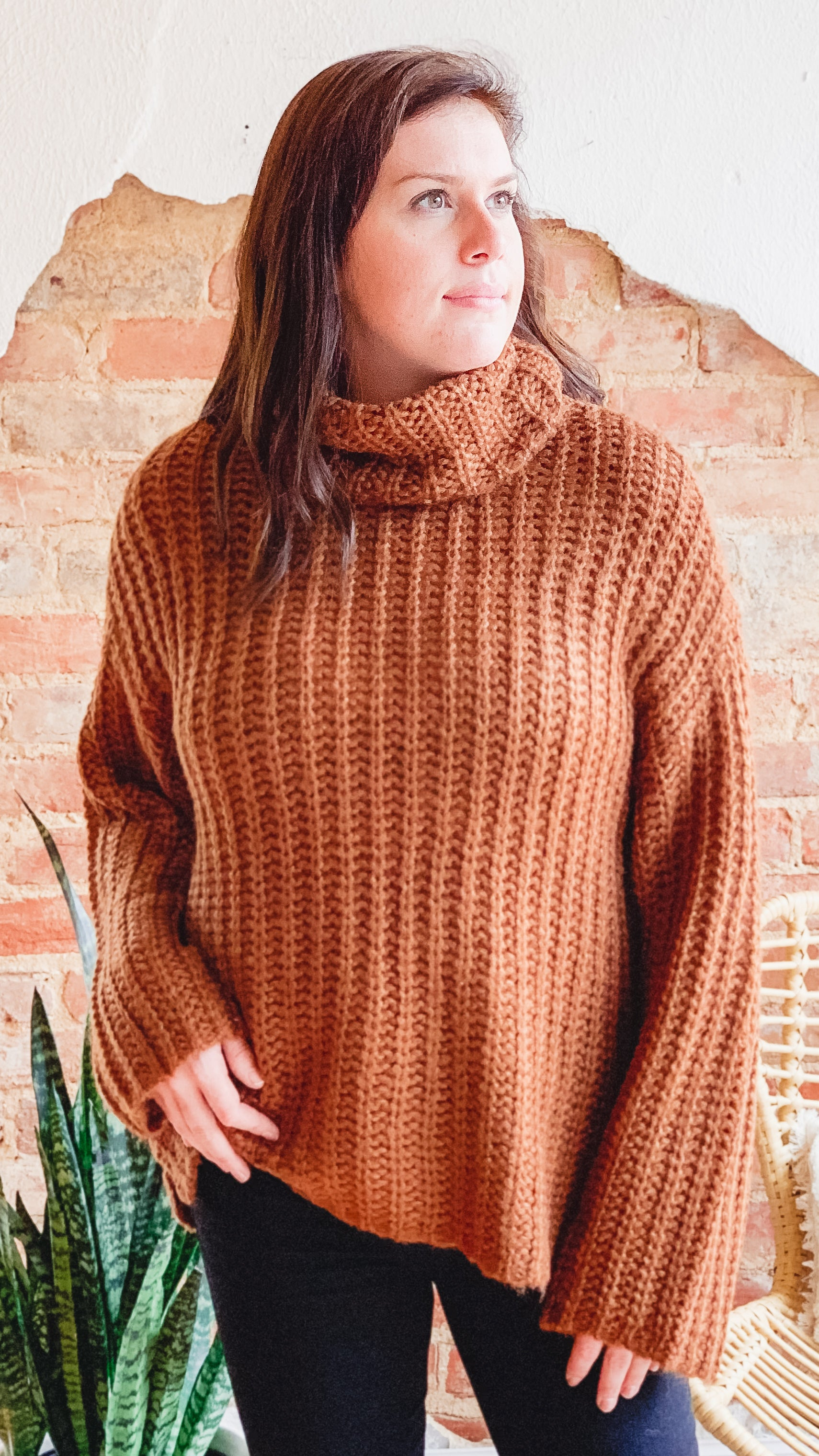 Chunky Turtleneck Sweater -Rust