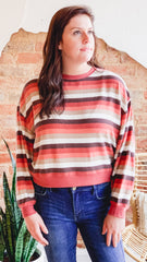 Z Supply Rainbow Stripe Pullover -Mesa Red
