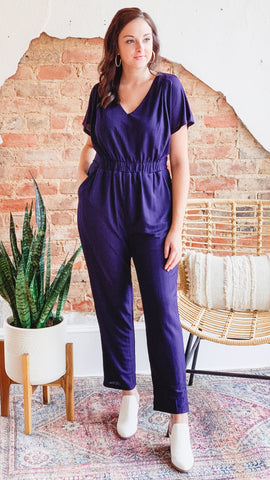 Ribbed Jumpsuit -Navy
