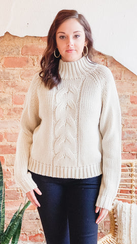 Cable Knit Mock Sweater -Oatmeal
