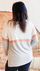 Z Supply Color Block Long Sleeve Top -Heather Grey
