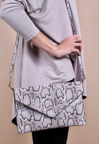 Stetson Snakeskin Envelope Clutch -Gray