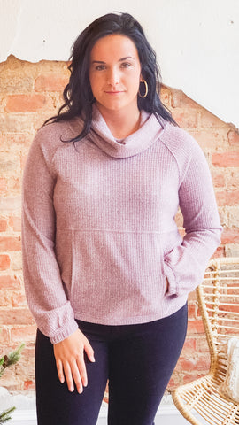 Waffle Thermal Cowl Neck Top -Twilight Mauve