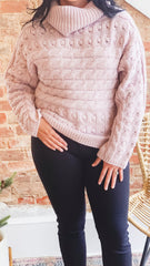 Novelty Turtleneck Sweater -Blush