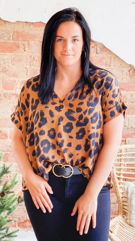 Leopard V Neck Top