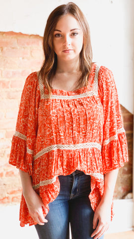 Free People Talk About It Tunic -Coral