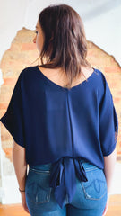 Back Tie Solid Top -Navy