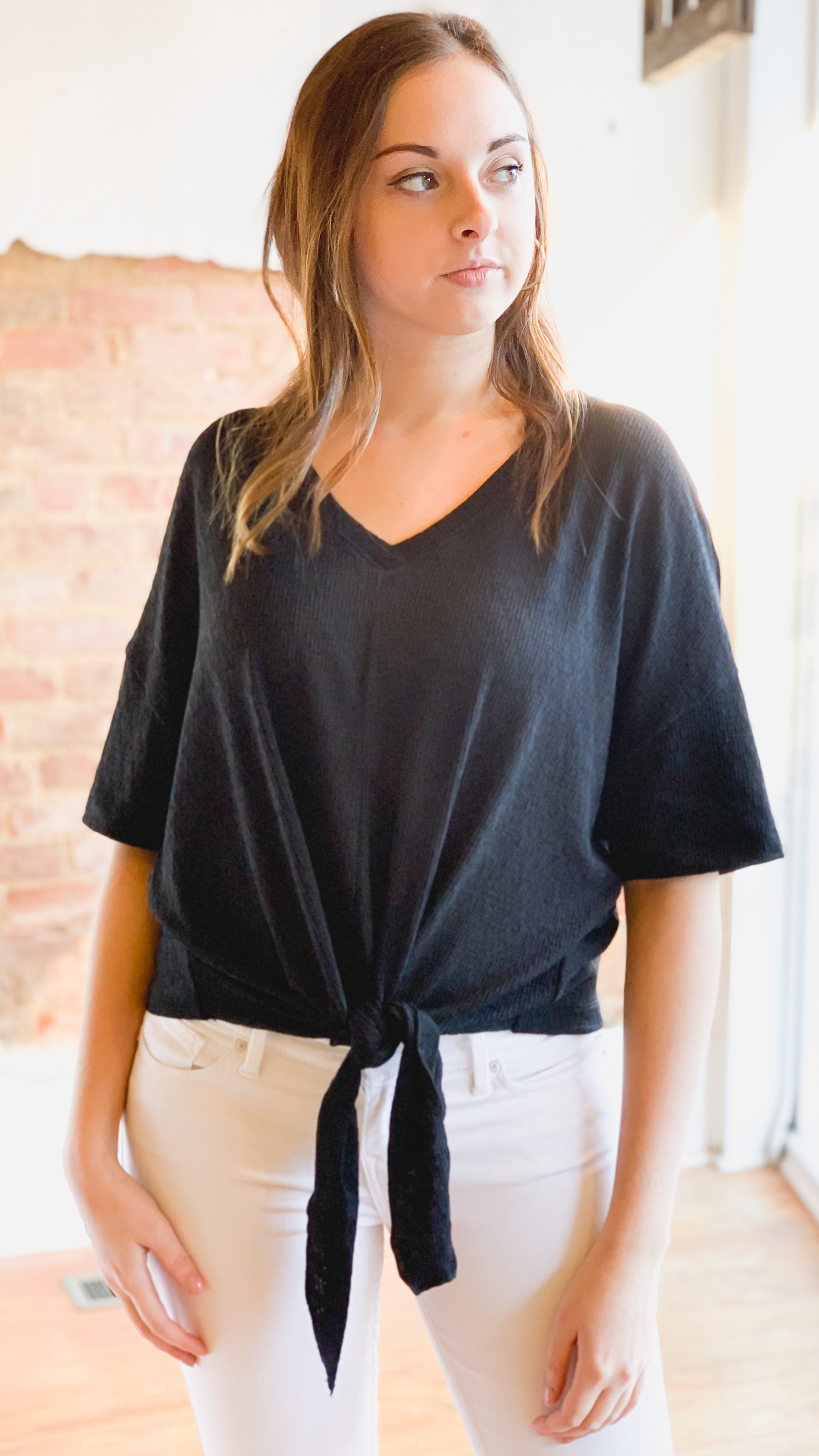 Front Tie Jersey Top -Black