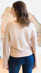 Z Supply The Sweater Knit Notch Front -Peachskin