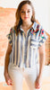 Embroidered Striped Button Down Top -Blue
