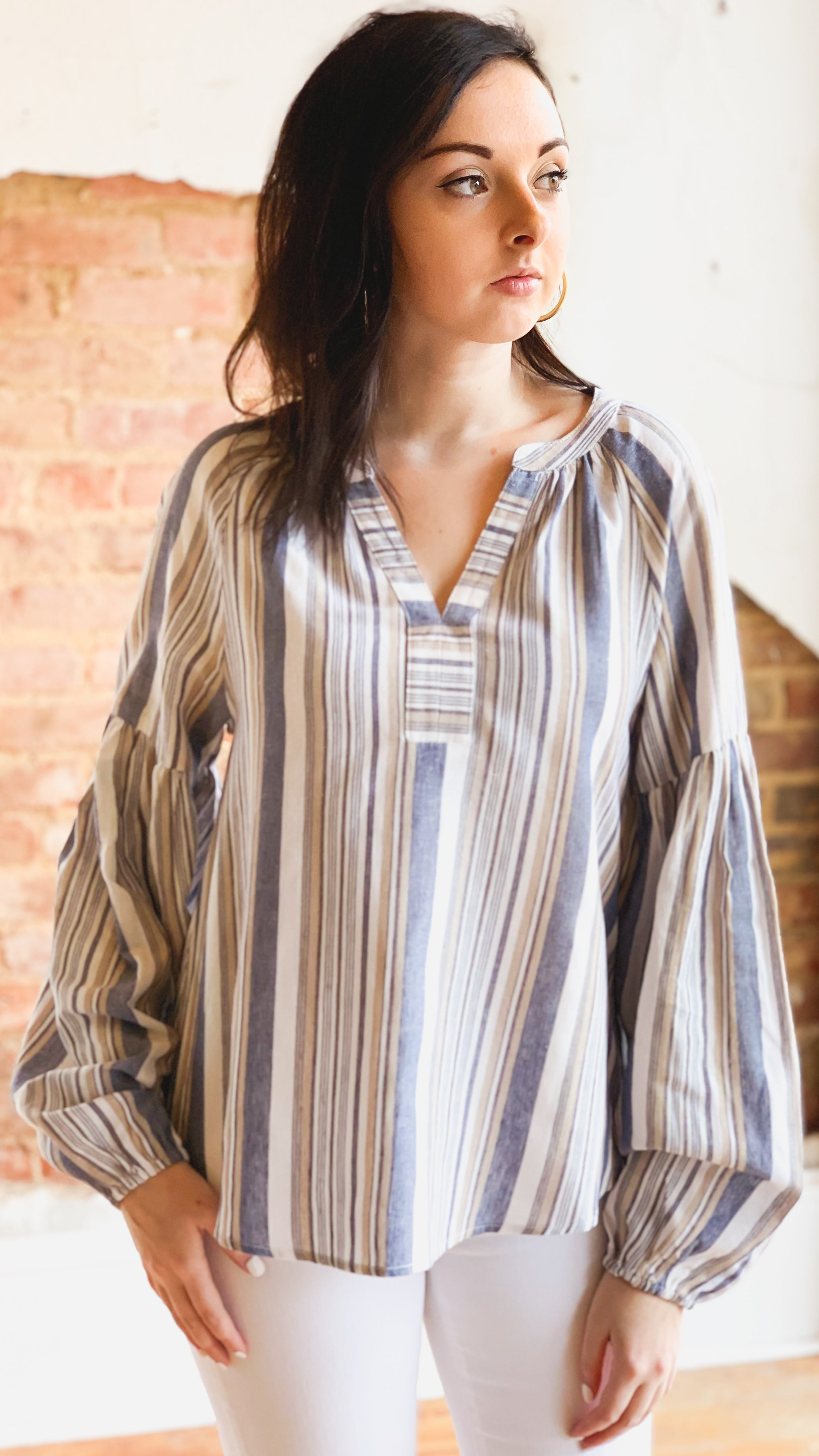 Stripe Peasant Top -Blue