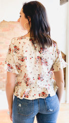 Floral Peplum Button Down Top -Cream