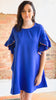 Pom Pom Detail Dress -Royal Blue