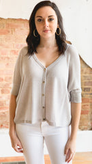 Solid Waffle Knit Button Top -Grey