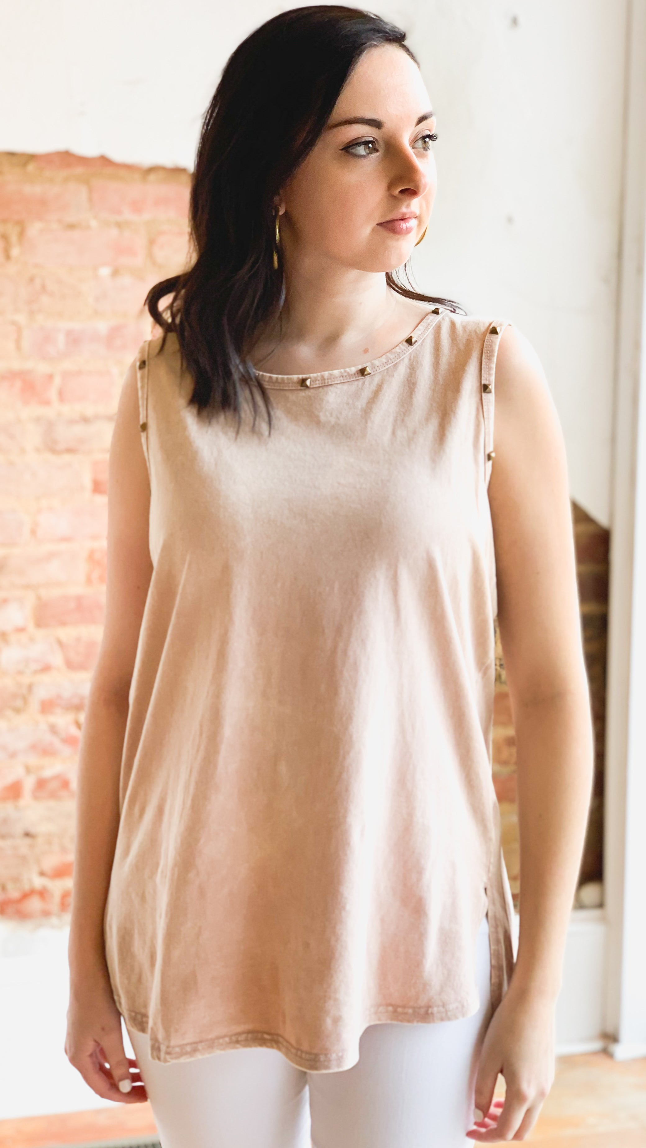 Vintage Washed Studded Tank -Mauve