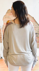 Mix Sleeve Knit Top -Dove Grey