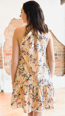 Halter Ditsy Floral Dress -Blush