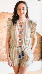 Stripe Embroidered Romper -Multi