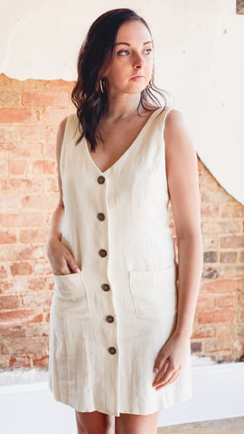 Linen Button Up Shift Dress -Cream