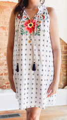 Embroidered Halter Dress- White