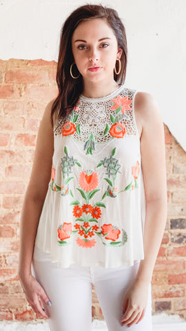 Free People Flower Power Tank -Ivory