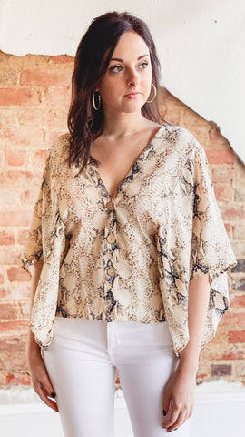 Snake Button Top- Taupe