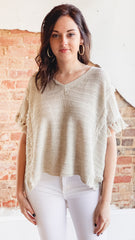 Vneck Sweater Tassel Top- Natural