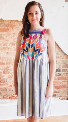 Embroidered Stripe Dress -Blue