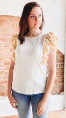 Printed Ruffle Knit Top -White