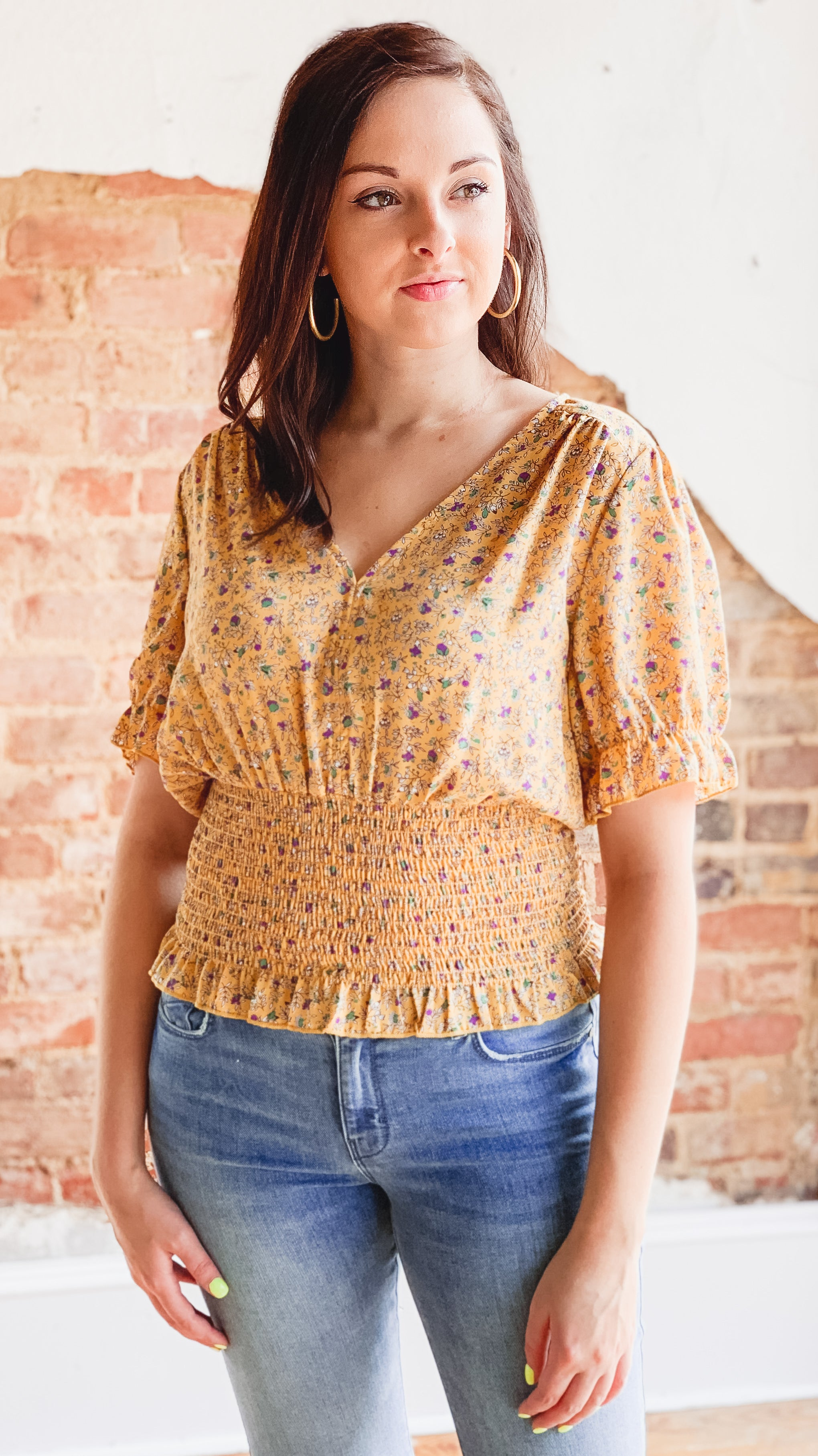 Shirred Waist Blouse -Mustard