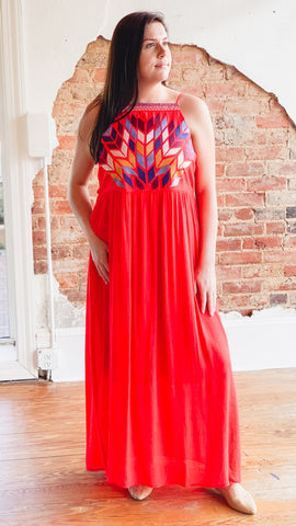 Embroidered Maxi Dress -Red
