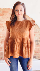Jacquard Tiered Top- Camel