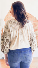 Free People Harmony Emb Blouse -Ivory