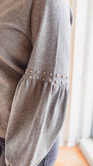 Stud Detail Sweatshirt- Dark Grey
