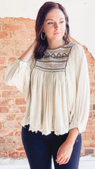 Free People Cyprus Avenue Embroidered Top -Ivory