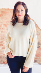 Z Supply The Gathered Sleeve Waffle Top- Pearl