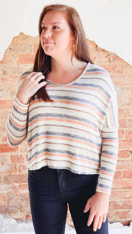 Amara Stripe Top- Tangerine