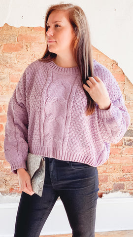 Azalea Crop Sweater- Lavender