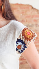 Crochet Sleeve Knit Top- White
