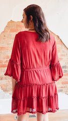 Ruffle Sleeve Dress- Brick