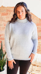 High Neck Pullover Sweater- Heather Grey