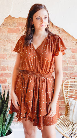 Ruffle Layered Dress -Rust
