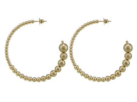 Large Crescent Hoops -Brushed Gold