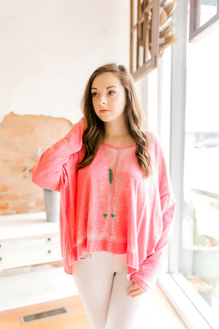 Solid Burn-Out Vneck Tee -Coral